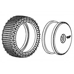 Tyre 180mm Micro Stud V2 BM LW + Wheel White